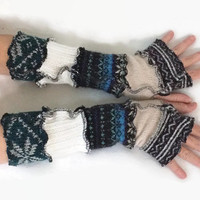 Upcycled Fingerless Gloves Blue Black White Armwarmers Recycled Wrist warmers Stripe Gloves Knit  Fingerless Mittens fashion accessories