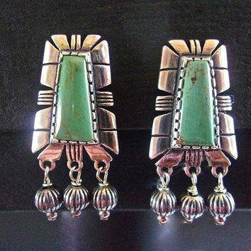 CAROLYN POLLACK Green Turquoise Earrings Sterling Silver Dangles Cut-Outs Vintage Clips