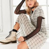 Urban Outfitters Allie Sheer Midi White Plaid Shirt Dress - Urban Outfitters