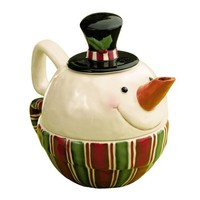 Grasslands Road Snocountry Top Hat Snowman Stacking Tea for One Teapot with Carrot Nose Spout