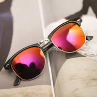 Fuchsia Film Lens Reflective Sunglasses
