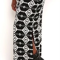 Plus Size Tribal Arrow Print Maxi Skirt with Side Slit