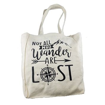Ink Trendz® Not All Who Wander Are Lost Compass Farmers Market 10oz. Natural Canvas Cotton Tote