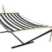Black And White Quilted Double Fabric Hammock With Stand Combo