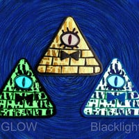 Homage to Alex Hirsch Bill Cipher #1 Glow in the Dark All Seeing Eye Illuminati Pyramid Gold Yellow and black