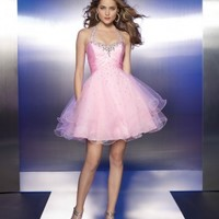 Beautiful Sexy Charm Charmeuse Tulle Halter Prom Dress ML9119