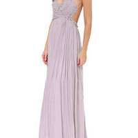 Purple Spaghetti Strap Backless Maxi Dress