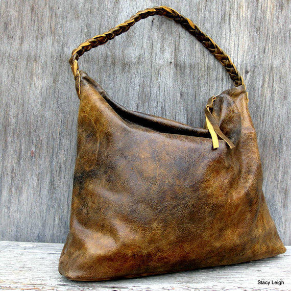 Distressed Brown Leather Hobo Bag By