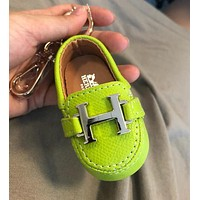 """Hermes"" Stylish Women Men Delicate Mini Cowhide Bag Small Shoes Hanging Drop Car Key Chain Bag Accessories Fluorescent Green"