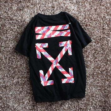 OFF OWF WHITE Taipei Limited T-Shirt Striped Red and White Warning Line Men and Women Couples OW Irregular Short Sleeve