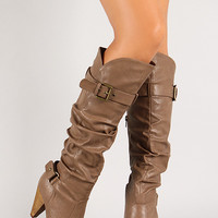 Slouchy Tapered Heel Knee High Boot