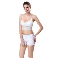 Bralette Bustier Strappy 2017 Sexy Women Lace Crochet Cut Out Bra Crop Top Black White Intimates Cami Padded Tank Tops#LSW