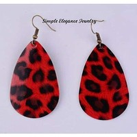 Red Leopard Vinyl Teardrop Earring's