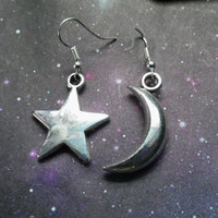 Silver Moon and Star earrings