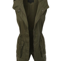 LE3NO Womens Military Anorak Sleeveless Jacket Vest with Hoodie (CLEARANCE)