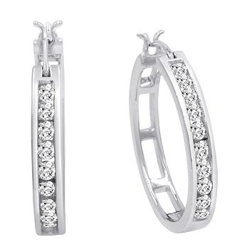 AGS Certified 1ct TW Diamond Round Hoop Earrings in 10K Yellow or White Gold