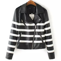Black and White Striped Leather Jackets Outerwear