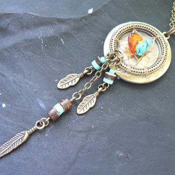 zen locket,dreamcatcher locket,dreamcatcher necklace, tribal locket, turquoise,amber