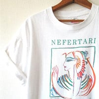 Vintage 1989 NEFERTARI Dallas Museum of Natural History Egyptian Queen T shirt Sz L