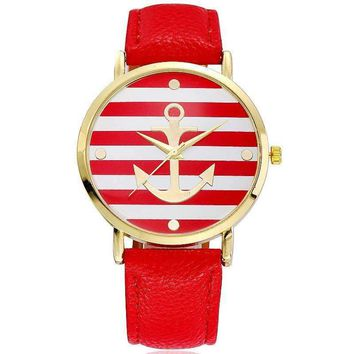Ahoy! Anchor Watch in Red and White Stripes for Women