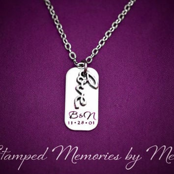 Love - Hand Stamped Stainless Steel Personalized Necklace - Anniversary Jewelry - Initials and Wedding Date - Hand Stamped Necklace - Loved
