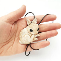 Rabbit bunny cute necklace pendant charm fashion polymer clay hand made gift funny humor for kids her birthday