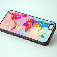 Colorful World Map Art Silicone Phone case iPhone 6 Case iPhone 6 Plus 6+ Case iPhone 5 Case Samsung Galaxy S5 Case World Map Phone Cas