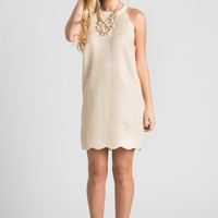 Eleanor Gold Tweed Halter Dress with Scallop Detailing