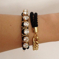 Chunky Bracelets Set  Arm party  Black Bling and by TheUrbanLady