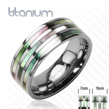 9mm Triple Abalone Inlayed Ring Solid Titanium Band Men's Ring