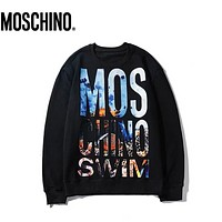 Moschino Fashion New Letter Print Multicolor Long Sleeve Top Sweater Black