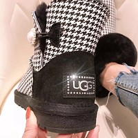 UGG Fashion plover pearl button ugg boots goat hair warm low tube flat comfortable ankle boot women's shoes