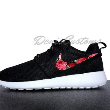 Nike Roshe Run One Black with Custom Red Pink Rose Floral Print
