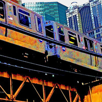 """Chicago transit 'EL' art print - Downtown Chicago, Illinois - Industrial but colorful - urban photography - 8.5""""x11"""""""