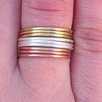 9 Three Tones  Band Rings -    Three tones band Ring - Stackable Rings - Set of 9  by Tiny Box