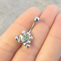 Belly Button Jewelry Ring Green Frog