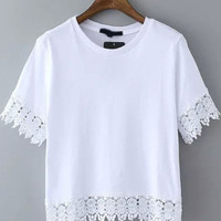Short Sleeve Lace Embroidered Cropped T-Shirt - White