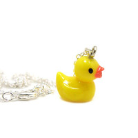 Rubber Duck Necklace, Charm Necklace, Charm Jewelry, Yellow Duck Necklace, Tiny Duck, Rubber Ducky, Gift Under 20, Yellow Rubber Duck Charm