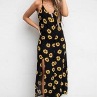 Sun Forest Sunflower Print Maxi
