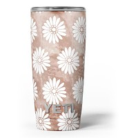 Brown Watercolor Flowers V2 - Skin Decal Vinyl Wrap Kit compatible with the Yeti Rambler Cooler Tumbler Cups