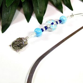 Blue and Navy Painted Flower Beaded Bookmark with Silver Clock Charm