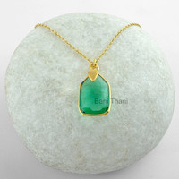 Textured Designer Leaf Green Fluorite Quartz Fancy 15x22mm Micron Gold Plated 925 Sterling Silver Pendant Necklace Jewelry #7565