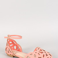 Bamboo Nubuck Cut Out Ankle Buckle Flat