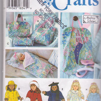 """American Girl/18"""" doll clothes pattern + accessories by Andrea Schewe: sleeping bag, tote bag, garment bag Simplicity 9833 CUT and COMPLETE"""