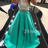 Custom Made 2 Pieces Lace Long Prom Dress, Evening Dress