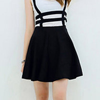 Black Cut Out Zippered Overalls Skirt