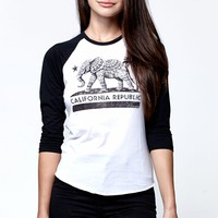 Riot Society Elephant CA Republic Baseball T-Shirt - Womens Tee - Black