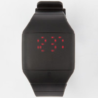 Rubber Square Face Led Watch Black One Size For Men 25394910001