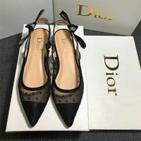 """Dior"" Temperament Fashion Polka Dots Perspective Gauze Pointed-toe Letter Singleback Shoes Women Shallow Mouth Low Heels Shoes"