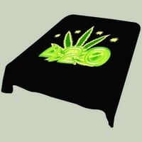 Black and Green 420 Marijuana Leaf Soft Plush Mink Blanket Full/queen Size by SaraSara